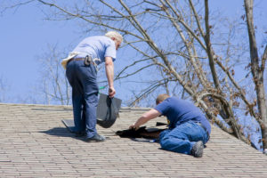 Two men repairing a roof for animal control